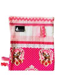 labeldoekje knuffeldoekje bambi hertje fuchsia roze en wit