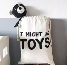 """opbergzak canvas """"it might be toys"""""""