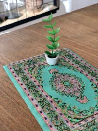 miniatuur perzisch tapijtje vloerkleed poppenhuis turquoise glitter