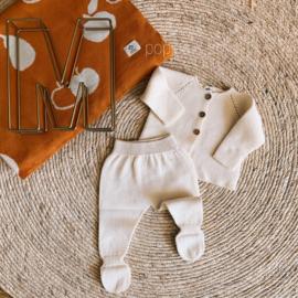 Gebreid newborn setje offwhite maat 56/62 - Micu Micu Barcelona