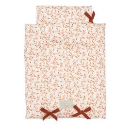 Cam Cam poppendekbed + kussen caramel leaves - 35 x 45 cm - caramel bruin roestbruin