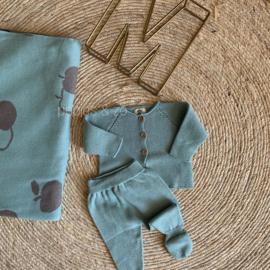Gebreid newborn setje oud mintgroen maat 56/62 - Micu Micu Barcelona