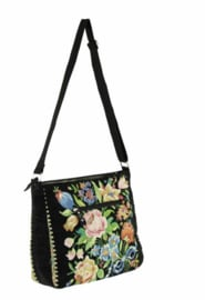 TAZ trade schoudertas crossbody Tapestry Flowers black