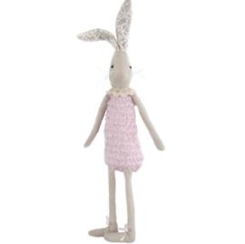 konijnenmeisje 65 cm groot lange oren roze jurk