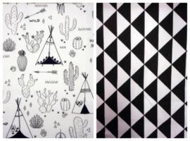 Dekbedovertrek cactus kleurboek stof triangel zwart wit