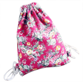 Gymtas rugzakje canvas bloemetjes fuchsia roze
