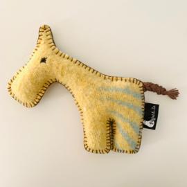 Wollen paardje (klein) geel pastelgroen