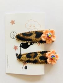 haarknipjes panterprintje zalm bloemetje swarovski steentjes