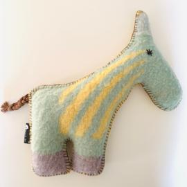 Wollen paard (groot) geel pastelgroen lichtblauw