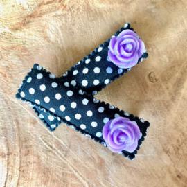 alligator haarknipjes zwart lila roosjes glitter