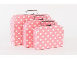 Koffertje Cara Caro roze witte hartjes