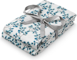 Cam Cam hydrofiel doek - fiori offwhite blauw 70 x 70 cm