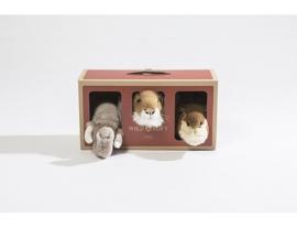 Wild & soft safari giftbox 3 pluchen dierenkoppen