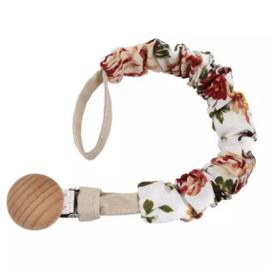 speenkoord houten clip offwhite met roosjes