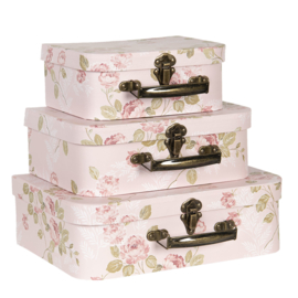 Clayre & Eef - koffersetje flowery light rose - 3 stuks