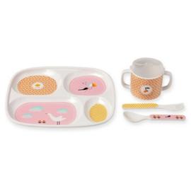 Atomic soda kinderservies eetsetje - Bandjo - dieren - roze
