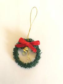 poppenhuis kerstkrans voor aan de deur / muur met klokje