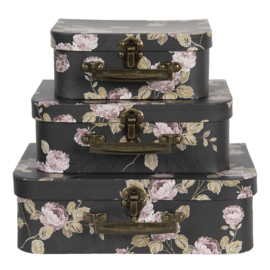 Clayre & Eef - koffersetje flowery black - 3 stuks