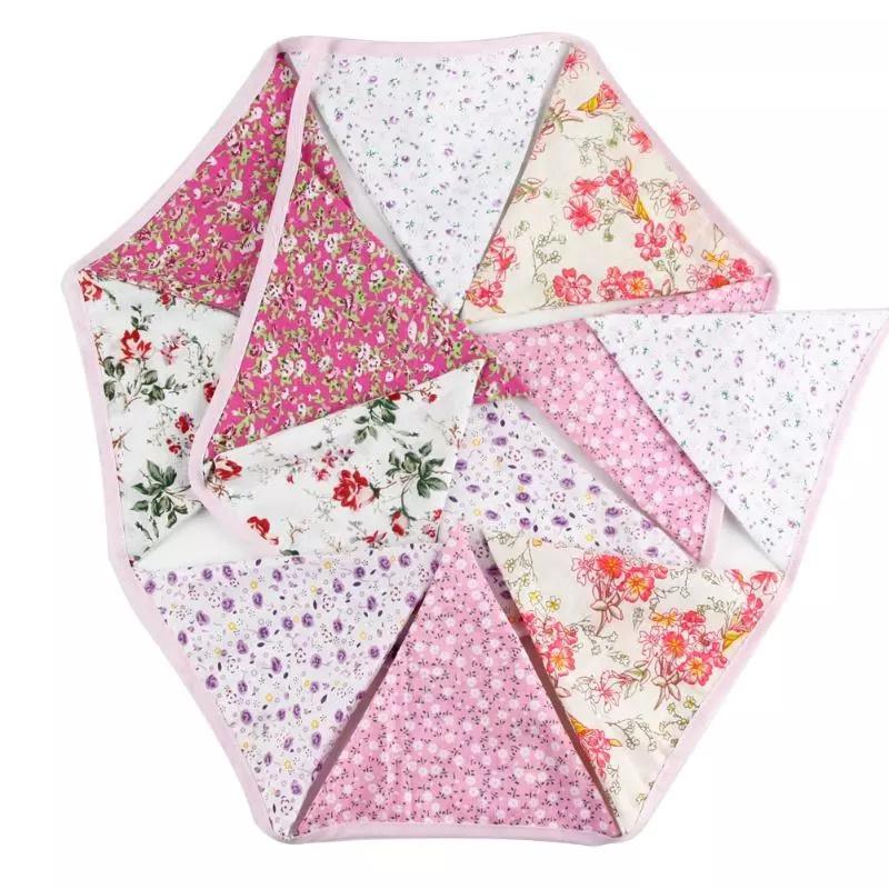 Vlaggenslinger paars roze met bloemetjes zonder naam