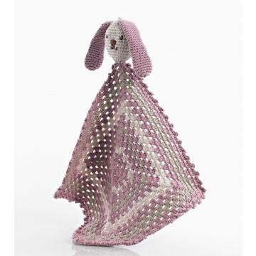 Pebble knuffeldoek konijn roze fair trade gehaakt