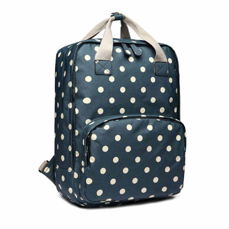 Huiskamergeluk rugzak polka dots denim blue - met laptopvak