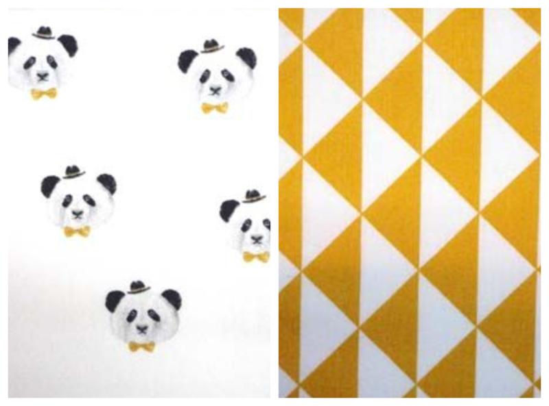 Dekbedovertrek panda oker