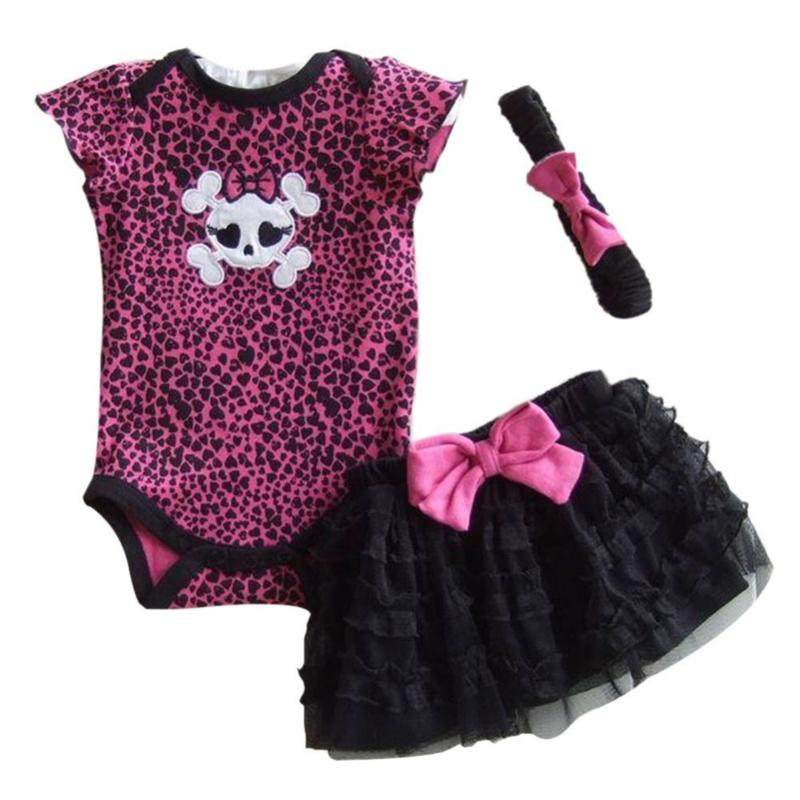 Meisjes set romper tutu haarbandje roze zwart skull maat 4-6 mnd