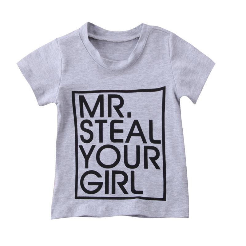 t-shirt mr. steal your girl maat 74 / 80 grijs