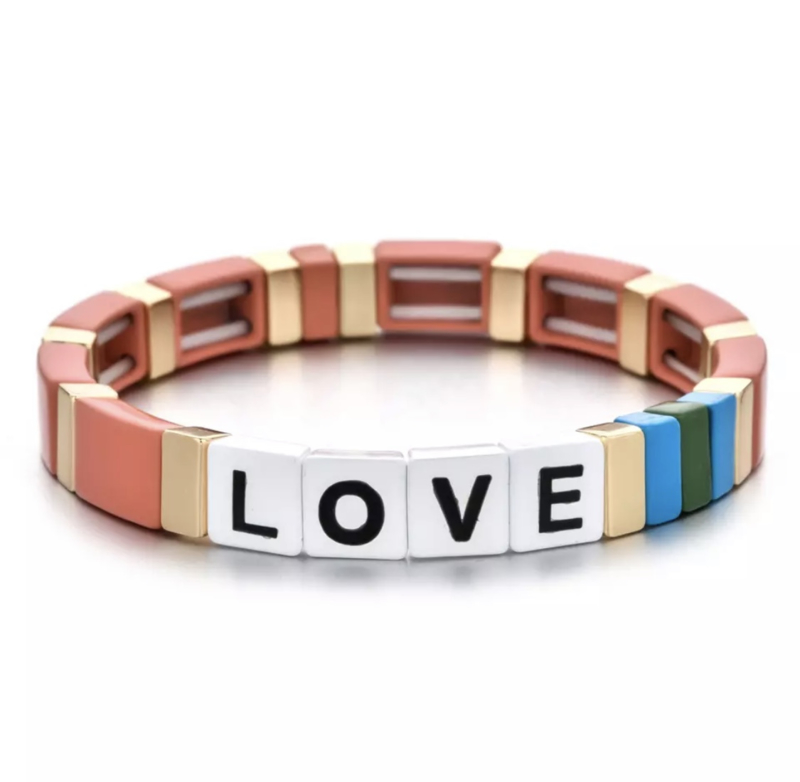 armbandje bohemian love multicolor zalm