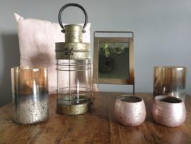 Sfeerlichthouder antiek roze/zilver