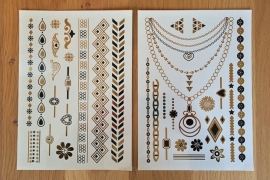 Metallic Tattoos 2 Goud & Zwart