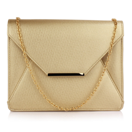 Faux Leather Clutch Metallic Goud