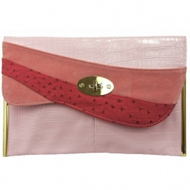 Grote Faux Leather Clutch Roze
