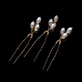 Kristallen Haarpinnen Goud 3 stuks