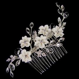 Haarkam met Witte Bloemen