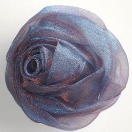 Lilac Blue Chiffon Rose Hair Clip & Broche