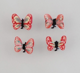 Vlinder Clipjes Rood Duo 4 st