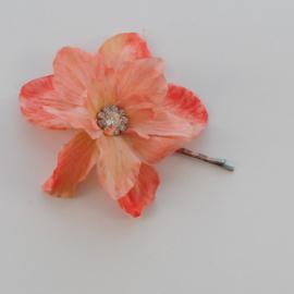 Kleine Haarbloem Peach met Fonkelend Hartje