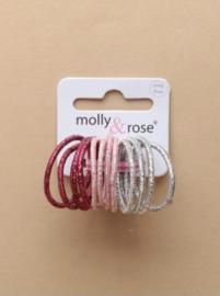 Kleine Haar Elastiekjes Metallic Roze en Zilver 12 stuks