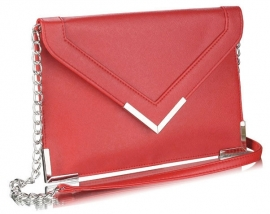 Faux Leather Enveloppe Clutch Rood