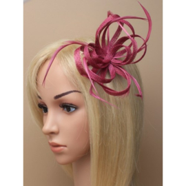 "Cranberry Sinamay ""Strik"" Fascinator"