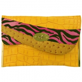 Grote Faux Leather Clutch Geel & Fuchsia