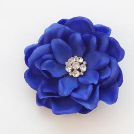Haarbloem Gardenia met Fonkelend Hartje Kobalt Blauw