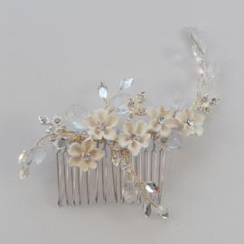 Haarkam met Witte Bloemen SALE
