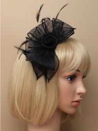 Sinamay Haarband Zwart