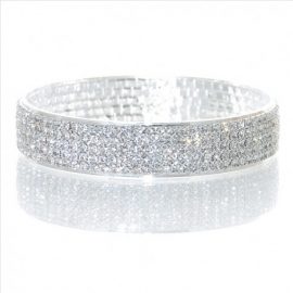 Zilverkleurige Kristallen Bangle