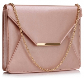 Faux Leather Clutch Metallic Licht Roze