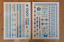 Metallic Tattoos 3 Zilver & Turquoise