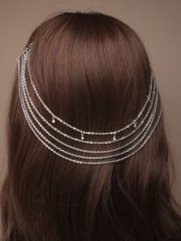 Hair Chains Kristallen Zilver