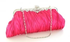Pink Satin Evening Bag
